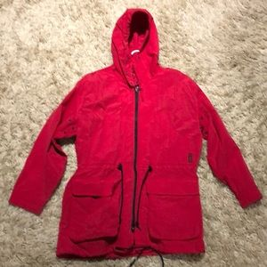 Red removable rain coat